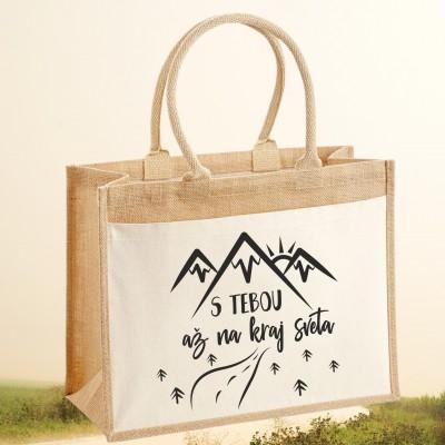 Jutová nákupná taška s motívom S TEBOU