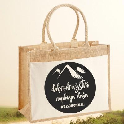 Jutová nákupná taška s motívom DOBRODRUŽSTVÁ