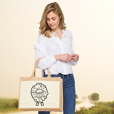 Jutová nákupná taška s motívom OVEČKA