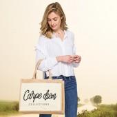 Jutová nákupná taška s motívom CARPE DIEM