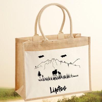 Jutová nákupná taška s motívom LIPTOV OVEČKY