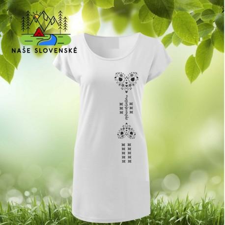 0a5b333f36cf dámske tričko-šaty s lodičkovým výstrihom